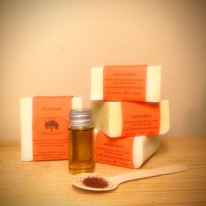 Σαπούνι με κρόκο Κοζάνης, καλέντουλα και μελισσοκέρι